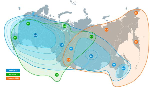 Карта покрытия, с размерами антенны, спутников для Телекарты. Спутниик Экспресс АМ5, Интелсат 15, Горизонт 2