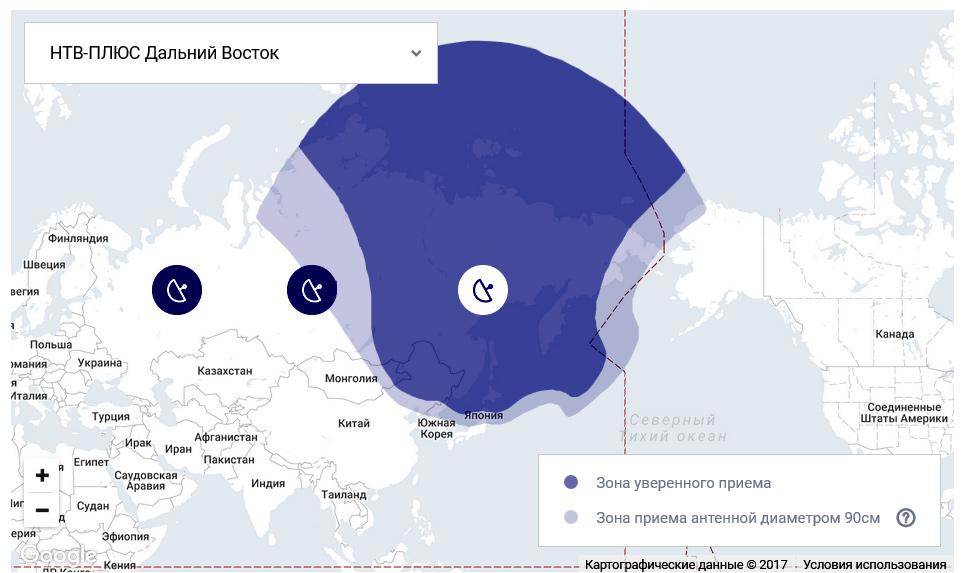 Зона покрытия НТВ+Дальний Восток